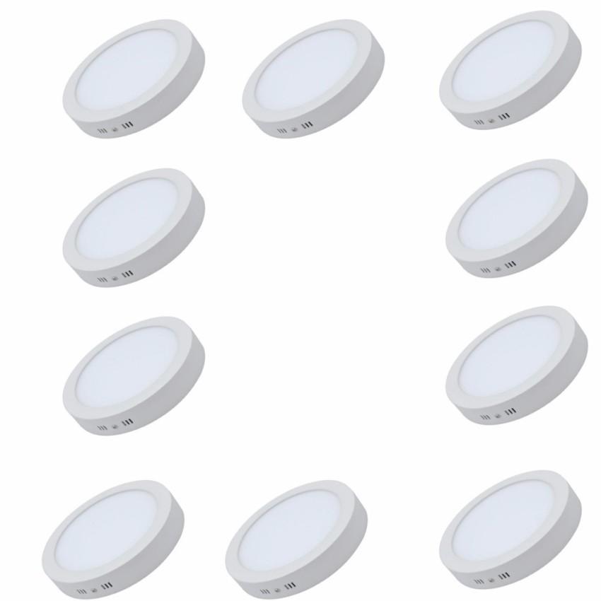 Combo 10 đèn LED downlight ánh sáng vàng ốp trần nổi tròn công suất 24W bóng tròn (cho ban công...)